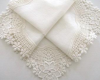 Bridal Accessories: Wedding Handkerchief, Cream Color German Plauen Lace Handkerchief Style No. 40932 with Classic 3-Initial Monogram