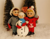 1960's Holiday Decor, Snowman with Children, Christmas Kitsch, Vintage Christmas, Holiday Collectible, Home & Living, Home Decor, Holiday