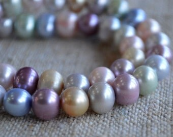 Pearl Cultured Freshwater Pastel Colors 7-8mm Semi-Round C Grade 16in Strand