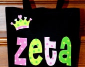Personalized Princess Tote (with crown applique)  Unique birthday gift idea  party gift bag  preschool library tote girls dance gymnastics