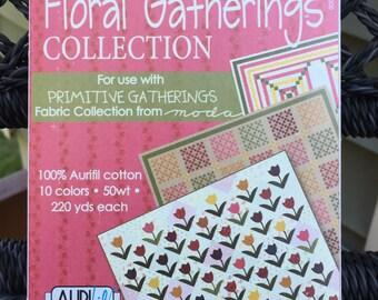 """SALE - AURIFIL THREAD Set:  """"Floral Gatherings"""" Collection  50 wt. cotton - 10 spools"""