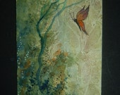 fantasy butterfly aceo art painting watercolour original ref 229