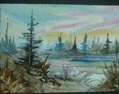 aceo art SFA painting watercolour landscape ref 242