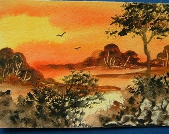 art painting aceo watercolour sunset ref 350