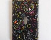 Calaveras Sugar Skull Skeleton Light Switch Plate in Black