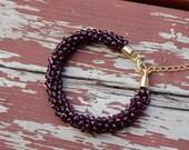 Glam Girl Amethyst Crystal Bracelet / Kumihimo Bracelet / Feng Shui Jewelry / Chakra / Reiki Energy