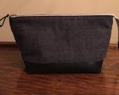 Charcoal grey herringbone flannel nubuck toiletries travel wash bag dopp kit shaving bag menswear two tone laminated lining