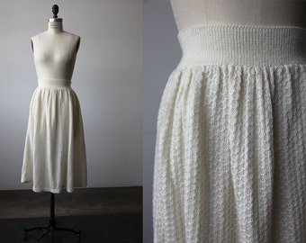 Vintage Ivory Knitted Wool Skirt 70s Honeycomb Knit Textured Midi Full High Waist XS-S-M
