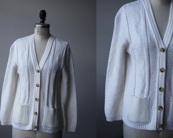Vintage White Cardigan Sweater Fitted Cable Knit Pockets S-M 70s