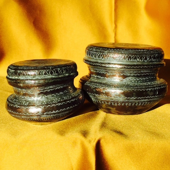 Antique Jars Pair of Middle Eastern Etched Ornate Rustic Metal Lidded Jars with Lids Trinket 20's 30's Home Decor