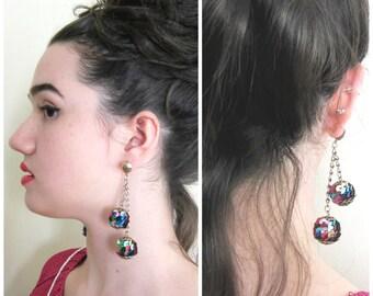 Vintage 1960s  1970s disco ball dangly earrings / 60s 70s sequined drop earrings