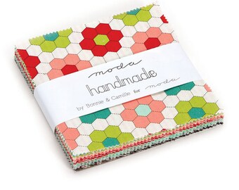 """Moda Cotton Quilting Charm Pack Fabric Handmade by Bonnie and Camille 5"""" Square Charm Pack Quilt Fabric"""