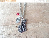 Silver dragon pendant necklace, personalized, initials