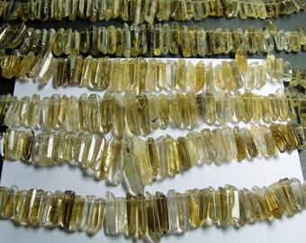 Quartz crystal points top drilled - 38 pcs mix size - full strand - lemon quartz - PSC209