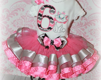 Girls Birthday 3 Piece Marie Aristocats Kitten Ribbon Tutu Outfit Pink & Silver INCLUDES TuTu, Hairpiece, Top Pick Name, Number, Colors
