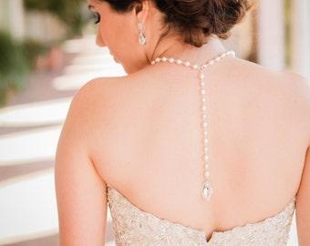 Swarovski Pearl necklace Backdrop Necklace Crystal Necklace Bridal Necklace Vintage Style Wedding Jewelry Statement Bridal Necklace ERIN
