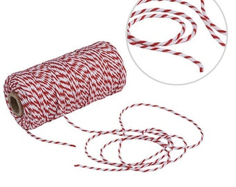 109 Yard Spool Twine, Christmas Packaging, Christmas Gift Wrapping, Red and White String