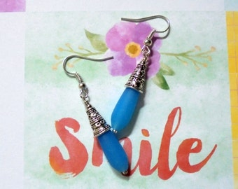 Aqua Blue Opaque Sea Glass Earrings (2747)
