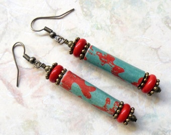 Red and Teal Earrings (2517)