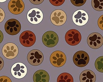 Paws Dog Fabric PAWS to YOU GRAY Fabric Hot Diggity Dog Paw Novelty Fabric 1 yd