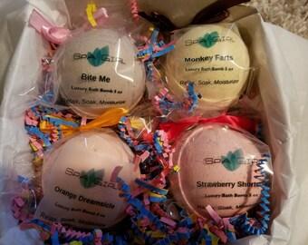 SPA KIDS Luxury Gift Set - contains 4 - 5 oz Bath Bomb Fizzies - Favorite Kids Scents!!