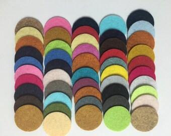Wool Felt Circles 50 - 1 inch Random Colored 3462 - felted circle - circle die cut - headband supplies