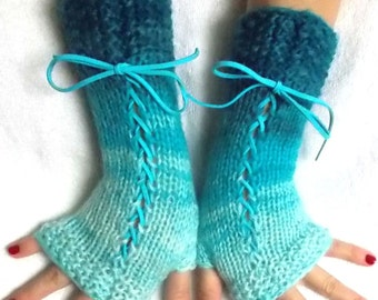 Fingerless Gloves Handknit Corset Arm Warmers in Turquoise/ Blue Victorian Style