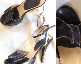 70s French platform shoes // black leather & gold high heels 37 fr