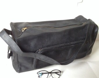 French VTG black leather week end bag/ luggage