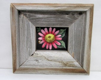 Single Pink or Yellow Flower with Green Leaves, Hand or Tole Painted, Framed in Reclaimed Primitive, Rustic Barn Wood Frame, Acrylic Paints