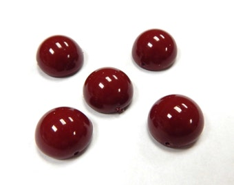 14mm Dome Cranberry (5) Czech Glass 14DomCran