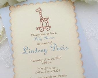 Blue Giraffe Invites Baby Shower Invite Birthday Blue Printed Set of 10