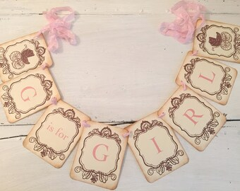 G is for Girl Banner Garland Baby Shower Decoration Vintage Carriage Photo Prop