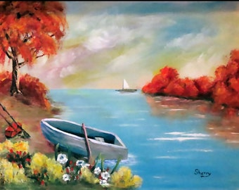 Autumn On The Water Print, Color Print