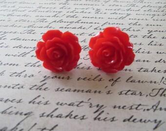 Bright Red Resin Rose Post Earrings