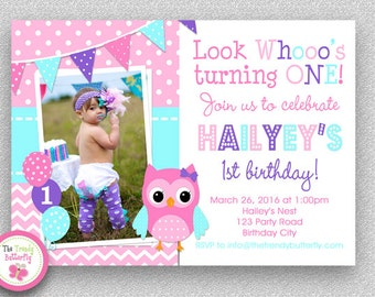Girls Birthday Invitation , Girls 1st birthday Invitation , Pink Purple Turquoise Blue Owl Invitation , 2nd Birthday , Printed Invitations