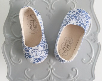Baby Girl Shoes Toddler Shoes Girl Shoes Infant Shoes Floral Shoes Blue Shoes Lace Shoes Baby Shoes Spring Shoes Soft Sole Shoes - Nell