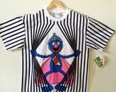 90s Sesame Street Grover Striped T Shirt- M/L, Deadstock, Super Grover Cartoon Hipster Mens Vintage