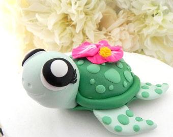 Turtle Cake Topper, Hawaiian, Tropical, Girl Birthday or Baby Shower, Keepsake, Nursery Decor