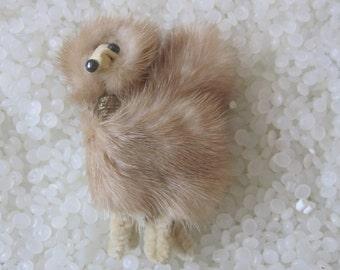 Adorable 1950's soft mink brooch pin , poodle,  Dog