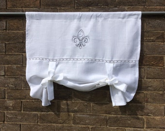 White Linen Tie Up Curtain Monogram, Vintage Fleur de Lis French Linen White Window Valance Shade, Personalized Embroidery, Bedroom Valance