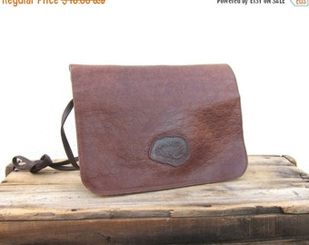15% Off Out Of Town SALE Carlos Falchi Embossed Crocodile Brown Leather Purse