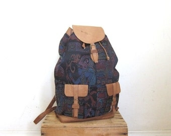 15% Off Out Of Town SALE 90s Vintage Baja Ethnic Woven Medium Rucksack Backpack