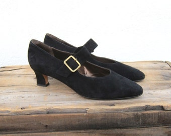 Mary Jane Cole Hann Italian Suede Kitten Heel Shoes Ladies 9b (Modern 8)
