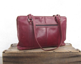 Large Tote Bag Distressed Wine Leather Shopper Bag