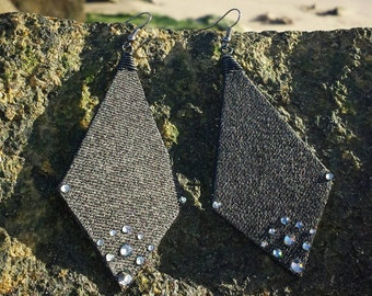 Denim Earrings- All Black Denim Rhinestone Arrow Jean Earrings