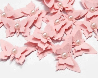 x20 Pastel Pink Butterfly Embellishments scrapbooking cardmaking
