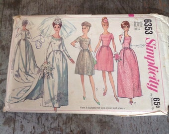 Vintage Simplicity Sewing Pattern 6353 Misses' Size 12 Bust 32 Wedding Bridesmaid Dress