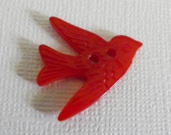 Bakelite Bird in Flight Button Realistic Cherry Red