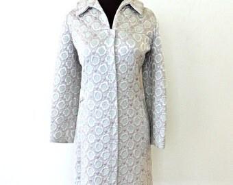 SALE vintage ice blue quilted dress - 1960s mod silver/grey/blue knit dress